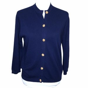 Vintage Ballantyne Navy Cardigan Sweater Lambswool